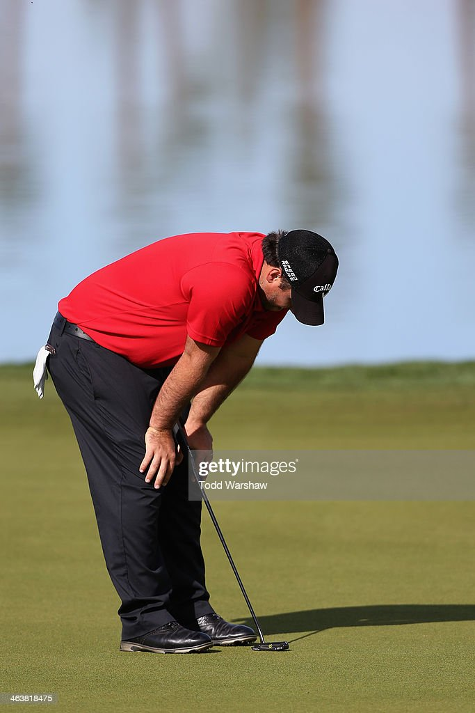 Patrick Reed reacts after missing a birdie putt on the ninth hole during the final round of the Humana Challenge in partnership with the Clinton Foundation on the Arnold Palmer Private Course at PGA West on January 19, 2014 in La Quinta, California.