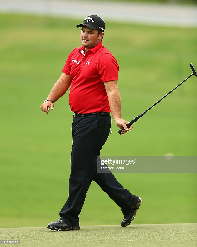 Patrick Reed reacts to a putt on the 11th hole during the final round of the Wyndham Championship at Sedgefield Country Club on August 18, 2013 in Greensboro, North Carolina.