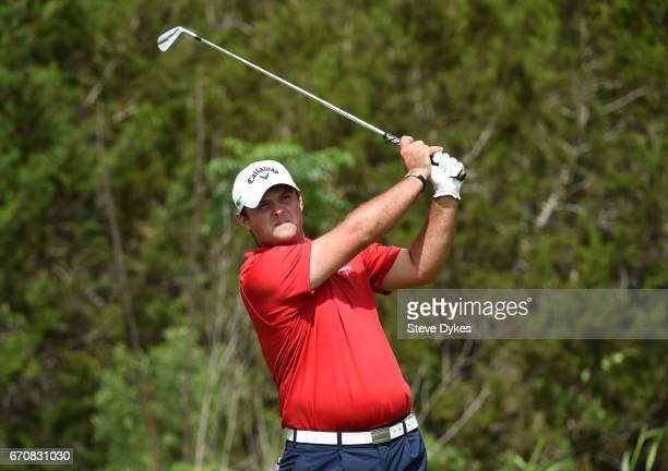 Patrick Reed tees off during the first round of the Valero Texas Open at TPC San Antonio ATT Oaks Course on April 20 2017 in San Antonio Texas