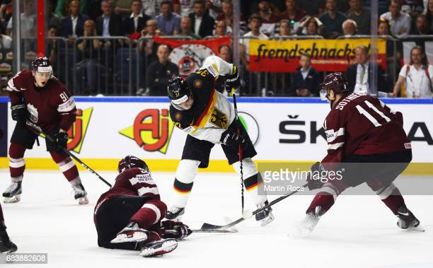 Patrick Reimer of Germany in action during the Germany v Latvia match of the 2017 IIHF Ice Hockey World Championships at Lanxess Arena on May 16 2017...