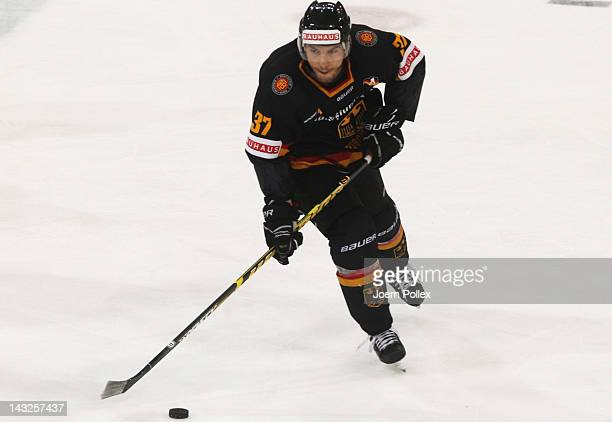 Patrick Reimer of Germany in action during the international friendly icehockey match between Germany and Denmark at TUI Arena on April 22 2012 in...