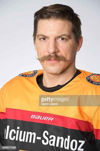 Patrick Reimer of Germany poses for a portrait during the German men's national ice hockey team presentation on November 6 2014 in Munich Germany