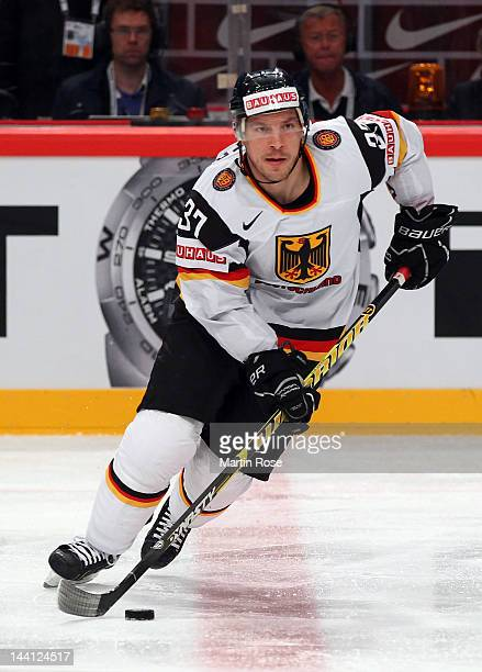 Patrick Reimer of Germany skates against Sweden during the IIHF World Championship group S match between Sweden and Germany at Ericsson Globe on May...