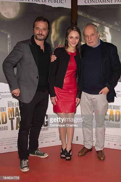 Patrick Ridremont Pauline Burlet and François Vincentellli attend the 'Dead Man Talking' premiere at Gaumont Capucines on March 25 2013 in Paris...