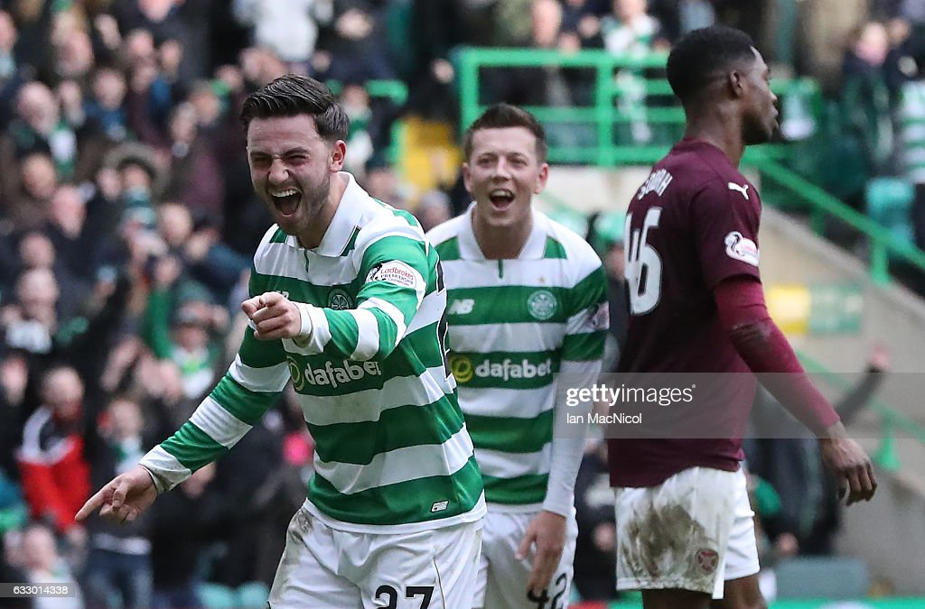 Patrick Roberts of Celtic celebrates scores the third goal during the Ladbrokes Scottish Premiership match between Celtic and Heart of Midlothian at Celtic Park Stadium on January 29, 2017 in Glasgow, Scotland.