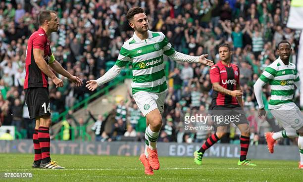 Patrick Roberts of Celtic celebrates scoring Celtic's third goal during the UEFA Champions League Second Qualifying Round Second Leg between Celtic...