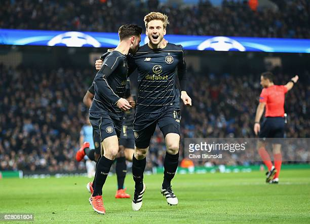 Patrick Roberts of Celtic celebrates scoring his sides first goal with Stuart Armstrong of Celtic during the UEFA Champions League Group C match...