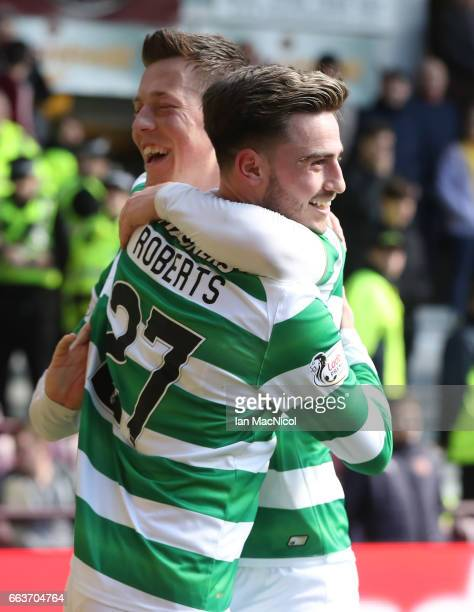 Patrick Roberts of Celtic celebrates scoring his sides fourth goal during the Ladbrokes Scottish Premiership match between Hearts and Celtic at...