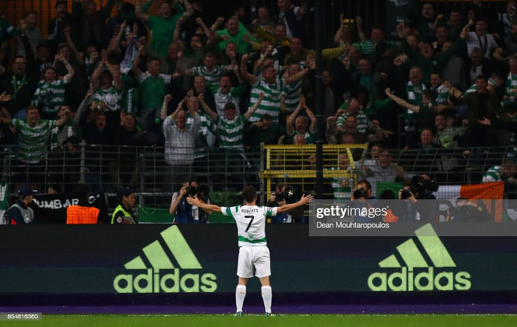 Patrick Roberts of Celtic celebrates scoring his sides second goal during the UEFA Champions League group B match between RSC Anderlecht and Celtic FC at Constant Vanden Stock Stadium on September 27, 2017 in Brussels, Belgium.