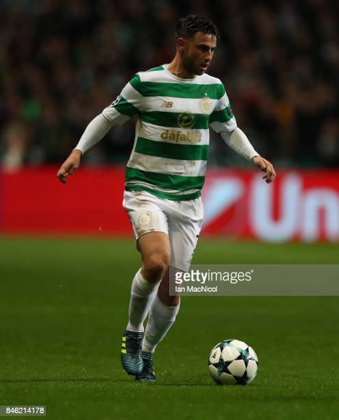 Patrick Roberts of Celtic controls the ball during the UEFA Champions League Group B match Between Celtic and Paris SaintGermain at Celtic Park on...