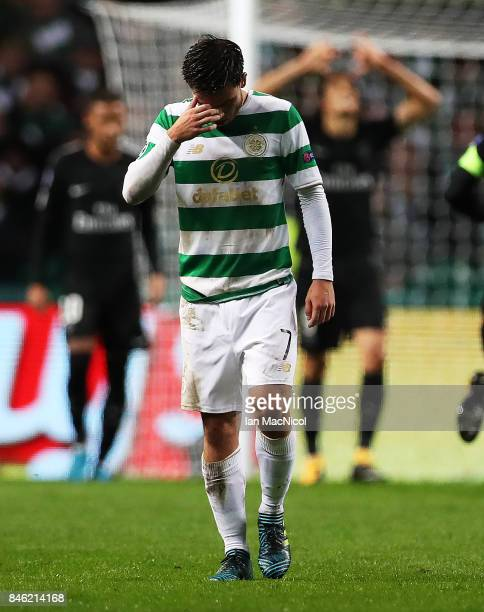 Patrick Roberts of Celtic reacts during the UEFA Champions League Group B match Between Celtic and Paris SaintGermain at Celtic Park on September 12...