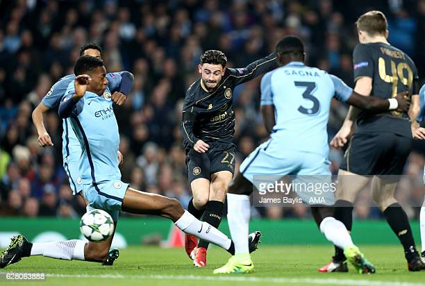 Patrick Roberts of Celtic scores the first goal to make the score 01 during the UEFA Champions League match between Manchester City FC and Celtic FC...
