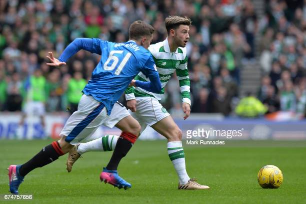 Patrick Roberts of Celtic takes on Myles Beerman of Rangers during the Ladbrokes Scottish Premiership match between Rangers and Celtic at Ibrox...