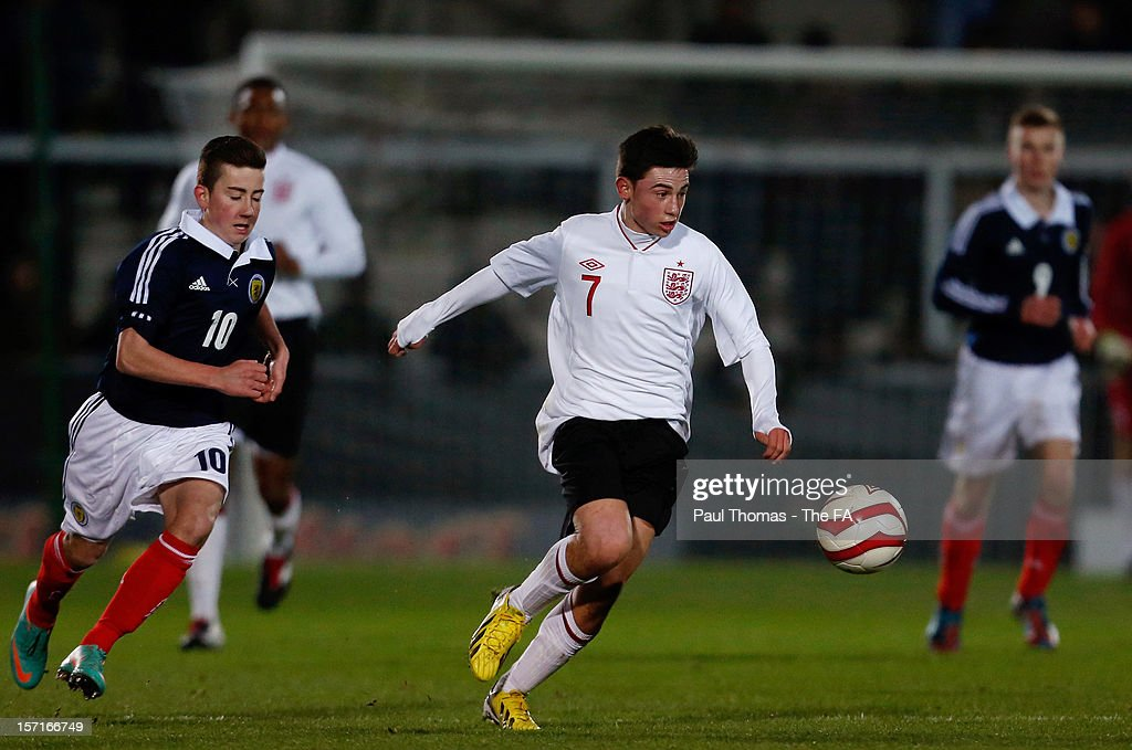 Patrick Roberts of England U16 (C) in action during the Sky Sports Victory Shield match between England U16 and Scotland U16 at Pirelli Stadium on November 29, 2012 in Burton-upon-Trent, England.