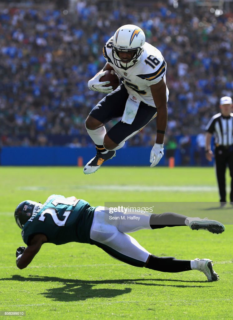 Patrick Robinson #21 of the Philadelphia Eagles defends against Tyrell Williams #16 of the Los Angeles Chargers on a pass play during the first half of a game at StubHub Center on October 1, 2017 in Carson, California.