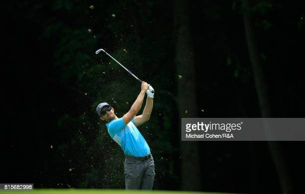 Patrick Rodgers hits his second shot on the sixth hole during the fourth and final round of the John Deere Classic held at TPC Deere Run on July 16...