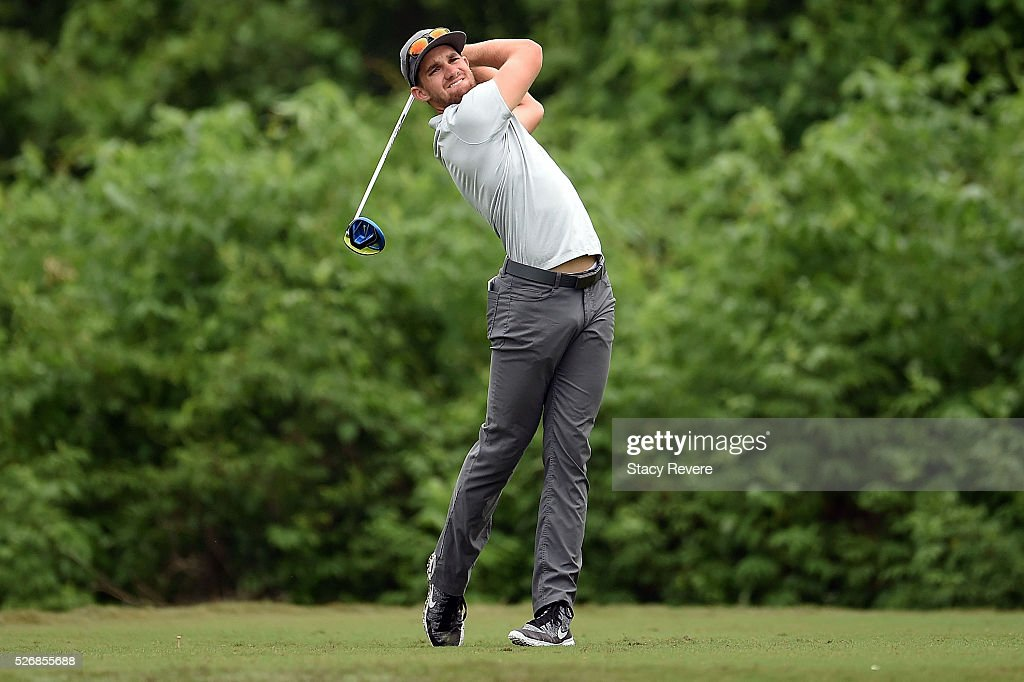 Patrick Rodgers hits his tee shot on the second hole during a continuation of the third round of the Zurich Classic at TPC Louisiana on May 1, 2016 in Avondale, Louisiana.