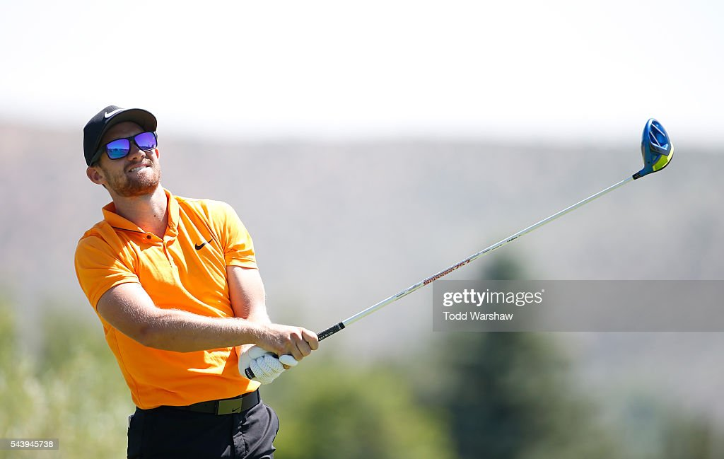 Patrick Rodgers plays his shot from the second tee during the first round of the Barracuda Championship at the Montreux Golf and Country Club on June 30, 2016 in Reno, Nevada.