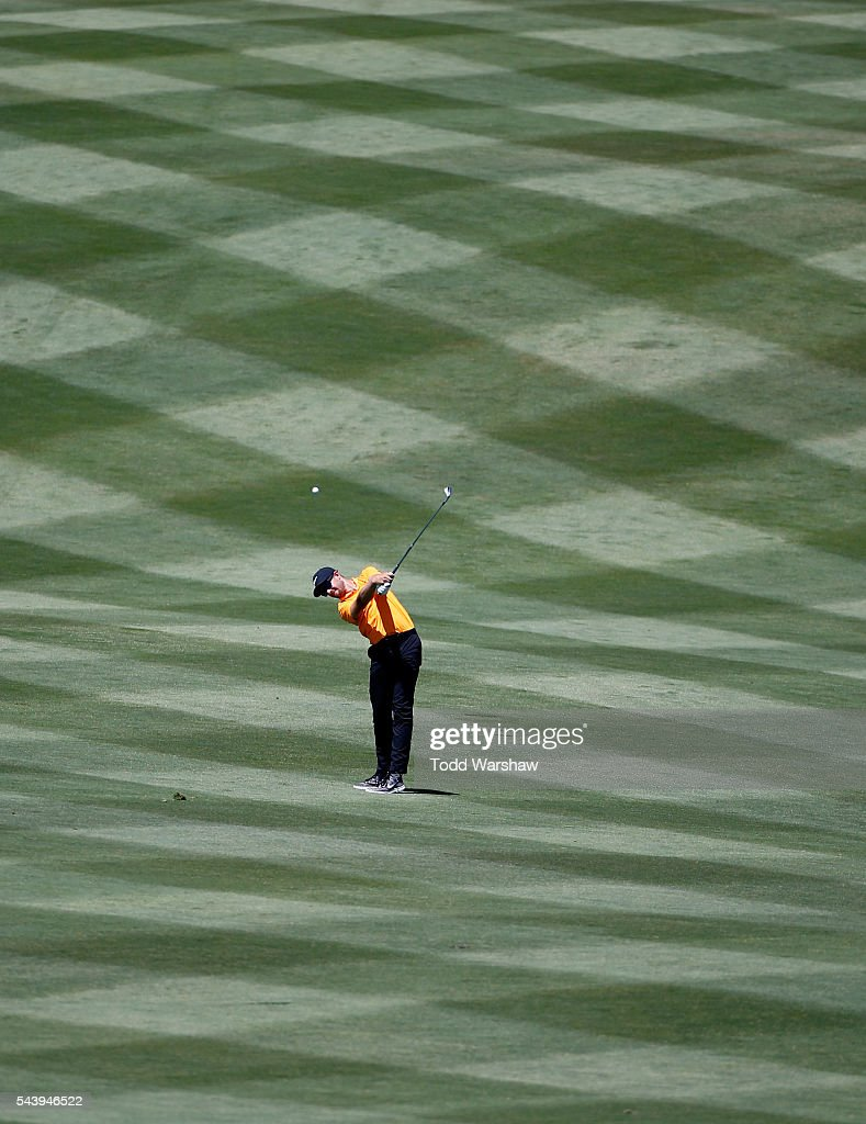 Patrick Rodgers plays his shot on the first hole during the first round of the Barracuda Championship at the Montreux Golf and Country Club on June 30, 2016 in Reno, Nevada.
