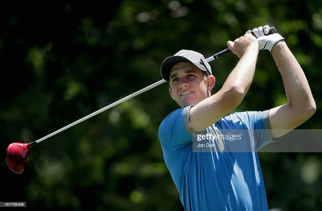Patrick Rodgers tees off on the second hole during the second round of the Greenbrier Classic at the Old White TPC on July 4, 2014 in White Sulphur Springs, West Virginia.