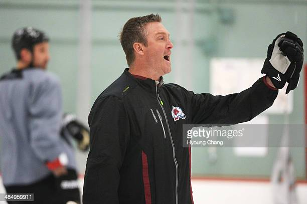 Patrick Roy head coach of Colorado Avalanche is in the team practice for the the first round of the playoff game against Minnesota Wild at Family...