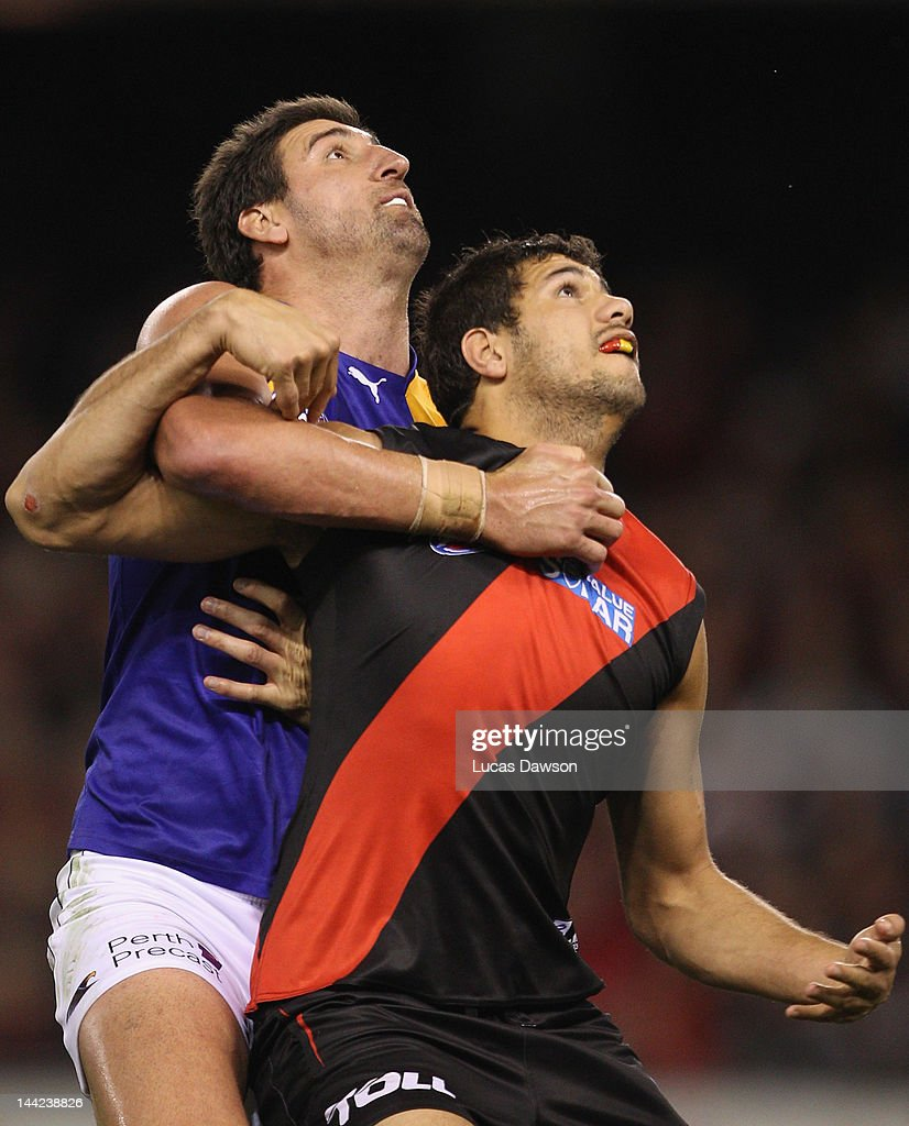 Patrick Ryder of the Bombers and Dean Cox of the Eagles contests in the ruck during the round seven AFL match between the Essendon Bombers and the West Coast Eagles at Etihad Stadium on May 12, 2012 in Melbourne, Australia.