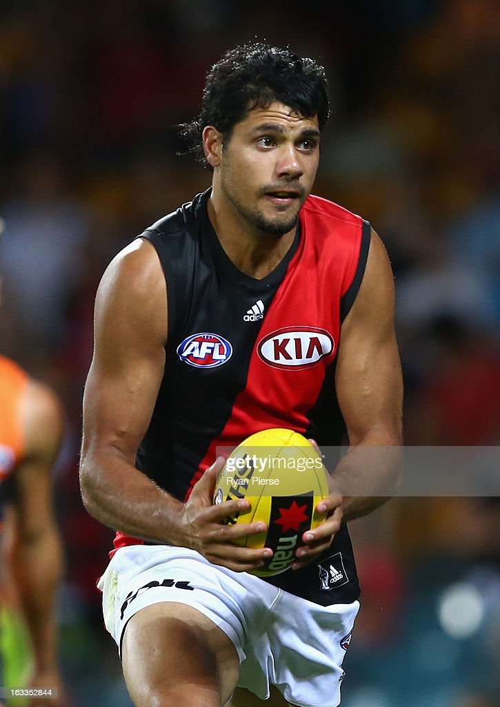 Patrick Ryder of the Bombers looks upfield during the round three of the NAB Cup AFL match between the Greater Western Sydney Giants and the Essendon Bombers at Manuka Oval on March 8, 2013 in Canberra, Australia.