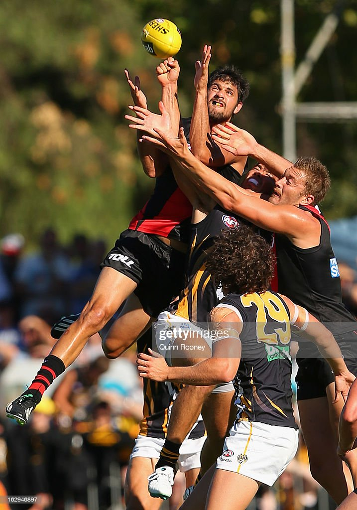 Patrick Ryder of the Bombers marks during the round two AFL NAB Cup match between the Essendon Bombers and the Richmond Tigers at Wangaratta Showgrounds on March 2, 2013 in Wangaratta, Australia.