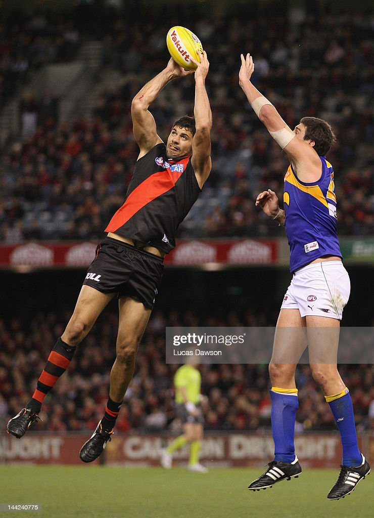 Patrick Ryder of the Bombers marks the ball during the round seven AFL match between the Essendon Bombers and the West Coast Eagles at Etihad Stadium on May 12, 2012 in Melbourne, Australia.