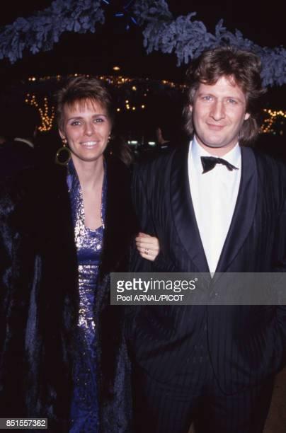 Patrick Sébastien et sa femme Fanfan lors de la cérémonie de remise des Sept d'Or à Paris en décembre 1990 France