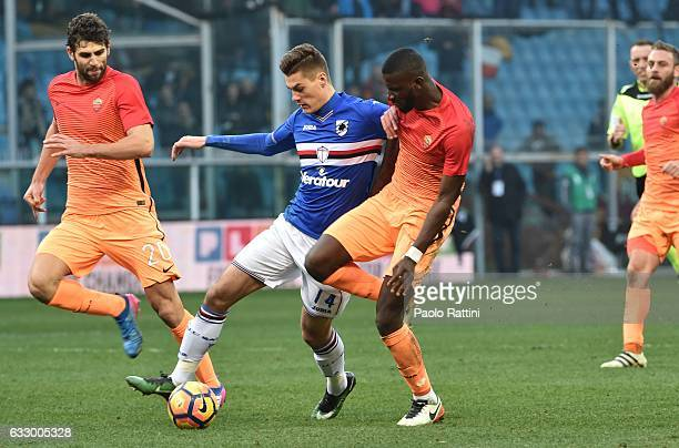 Patrick Schick and Antonio Rudiger during the Serie A match between UC Sampdoria and AS Roma at Stadio Luigi Ferraris on January 29 2017 in Genoa...