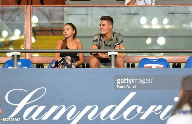 Patrick Schick and Hana Behounkova during the TIM Cup match between UC Sampdoria and Foggia at Stadio Luigi Ferraris on August 12 2017 in Genoa Italy