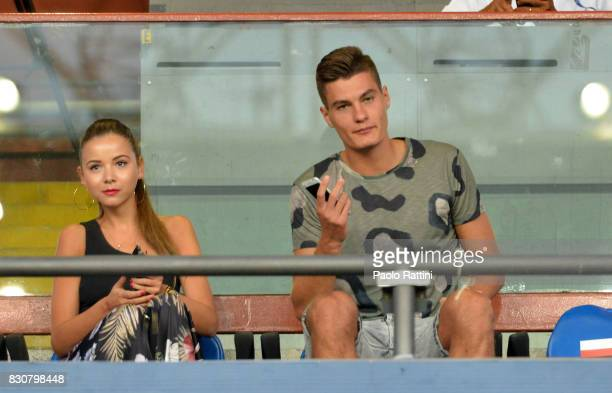 Patrick Schick and Hana Behounkova in stand during the TIM Cup match between UC Sampdoria and Foggia at Stadio Luigi Ferraris on August 12 2017 in...