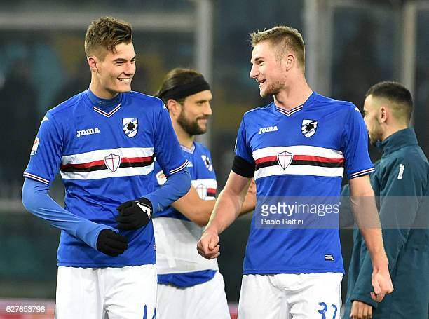 Patrick Schick and Milan Skriniar of Sampdoria at the end of the Serie A match between UC Sampdoria and FC Torino at Stadio Luigi Ferraris on...