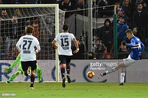 Patrick Schick goal 20 during the TIM Cup match between UC Sampdoria and Cagliari Calcio at Stadio Luigi Ferraris on November 30 2016 in Genoa Italy