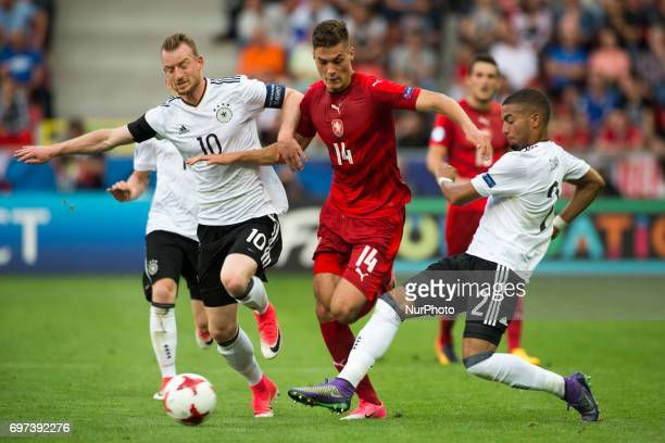 Patrick Schick of Czech duels with Maximilian Arnold and Jeremy Toljan of Germany during the UEFA European Under21 Championship 2017 Group C match...