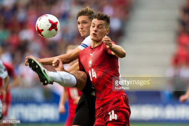 Patrick Schick of Czech fights for the ball during the UEFA European Under21 Championship 2017 Group C match between Germany and Czech Republic at...