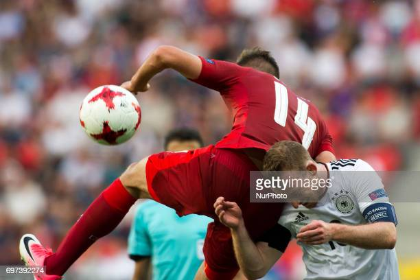 Patrick Schick of Czech fights for the ball with Maximilian Arnold of Germany during the UEFA European Under21 Championship 2017 Group C match...