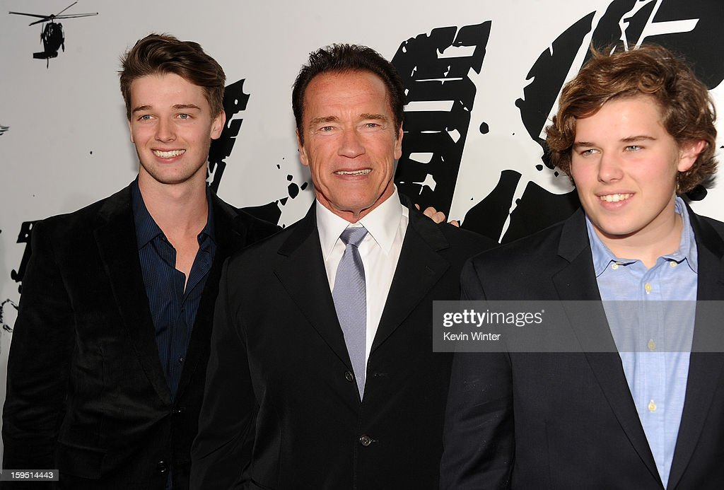 Patrick Schwarzenegger, actor Arnold Schwarzenegger, and Christopher Schwarzenegger arrive at the premiere of Lionsgate Films' 'The Last Stand' at Grauman's Chinese Theatre on January 14, 2013 in Hollywood, California.