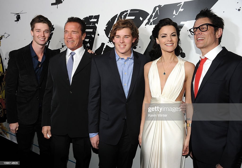 Patrick Schwarzenegger, actor Arnold Schwarzenegger, Christopher Schwarzenegger, actors Jaimie Alexander, and Johnny Knoxville arrive at the premiere of Lionsgate Films' 'The Last Stand' at Grauman's Chinese Theatre on January 14, 2013 in Hollywood, California.