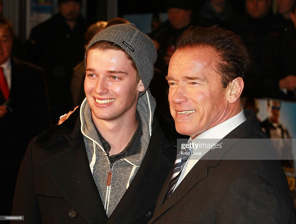 <a gi-track='captionPersonalityLinkClicked' href=/galleries/search?phrase=Patrick+Schwarzenegger&family=editorial&specificpeople=540253 ng-click='$event.stopPropagation()'>Patrick Schwarzenegger</a> and <a gi-track='captionPersonalityLinkClicked' href=/galleries/search?phrase=Arnold+Schwarzenegger&family=editorial&specificpeople=156406 ng-click='$event.stopPropagation()'>Arnold Schwarzenegger</a> attends the European Premiere of The Last Stand at Odeon West End on January 22, 2013 in London, England.