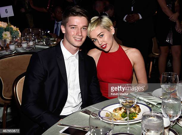 Patrick Schwarzenegger and Miley Cyrus attend the PreGRAMMY Gala And Salute To Industry Icons Honoring Martin Bandier at The Beverly Hilton on...