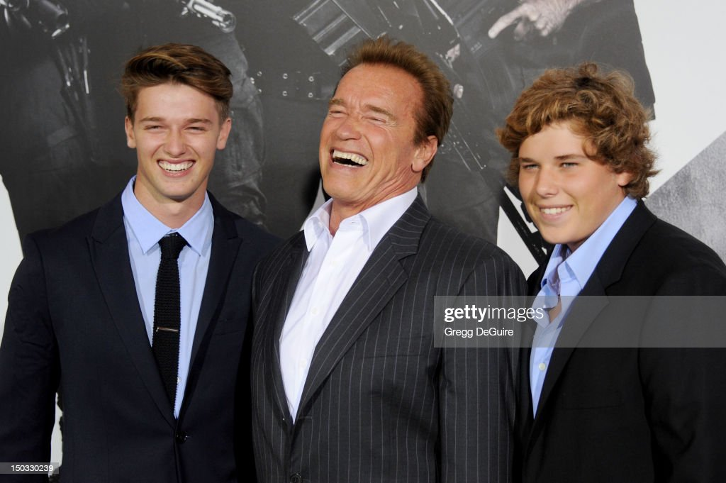 <a gi-track='captionPersonalityLinkClicked' href=/galleries/search?phrase=Patrick+Schwarzenegger&family=editorial&specificpeople=540253 ng-click='$event.stopPropagation()'>Patrick Schwarzenegger</a>, <a gi-track='captionPersonalityLinkClicked' href=/galleries/search?phrase=Arnold+Schwarzenegger&family=editorial&specificpeople=156406 ng-click='$event.stopPropagation()'>Arnold Schwarzenegger</a> and <a gi-track='captionPersonalityLinkClicked' href=/galleries/search?phrase=Christopher+Schwarzenegger&family=editorial&specificpeople=707420 ng-click='$event.stopPropagation()'>Christopher Schwarzenegger</a> arrive at Los Angeles premiere of 'The Expendables 2' at Grauman's Chinese Theatre on August 15, 2012 in Hollywood, California.