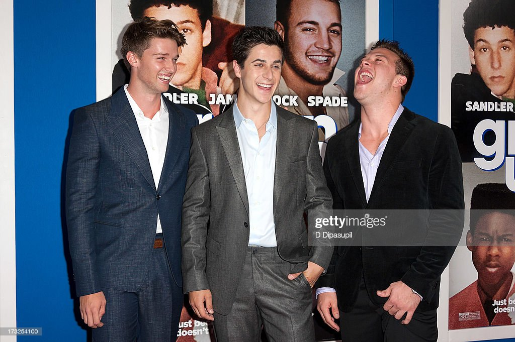 <a gi-track='captionPersonalityLinkClicked' href=/galleries/search?phrase=Patrick+Schwarzenegger&family=editorial&specificpeople=540253 ng-click='$event.stopPropagation()'>Patrick Schwarzenegger</a>, <a gi-track='captionPersonalityLinkClicked' href=/galleries/search?phrase=David+Henrie&family=editorial&specificpeople=2960032 ng-click='$event.stopPropagation()'>David Henrie</a>, and Jimmy Tatro attend the 'Grown Ups 2' New York Premiere at AMC Lincoln Square Theater on July 10, 2013 in New York City.