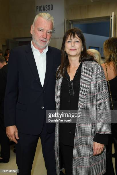Patrick Seguin and his wife Laurence attend a cocktail in honour of Diana Widmaier Picasso and Alexander SC Rower awarded with the Chevalier and...