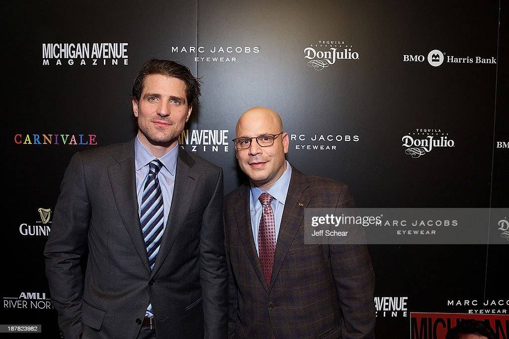 Patrick Sharp and Dan Uslan, President and Publisher at Michigan Avenue Magazine, attend Michigan Avenue Magazine November Cover Celebration Hosted By Chicago Blackhawks' Patrick Sharp & Patrick Kane at Carnivale on November 12, 2013 in Chicago, Illinois.