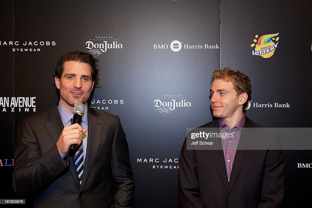 Patrick Sharp and Patrick Kane attend Michigan Avenue Magazine November Cover Celebration Hosted By Chicago Blackhawks' Patrick Sharp & Patrick Kane at Carnivale on November 12, 2013 in Chicago, Illinois.