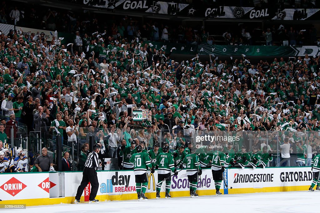 Patrick Sharp #10, Jason Demers #4, Kris Russell #2 and Jamie Benn #14 of the Dallas Stars celebrate a goal against the St. Louis Blues in Game Two of the Western Conference Second Round during the 2016 NHL Stanley Cup Playoffs at the American Airlines Center on May 1, 2016 in Dallas, Texas.