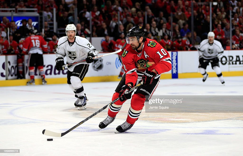 Patrick Sharp #10 of the Chicago Blackhawks carries the puck through the neutral zone in the first period of Game Two of the Western Conference Final against the Los Angeles Kings during the 2013 NHL Stanley Cup Playoffs at United Center on June 2, 2013 in Chicago, Illinois. The Blackhawks defeated the Kings 4-2.