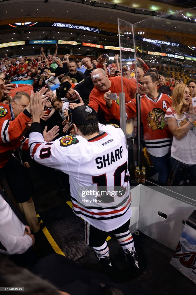 Patrick Sharp #10 of the Chicago Blackhawks celebrates following their 3-2 win against the Boston Bruins in Game Six of the 2013 NHL Stanley Cup Final at TD Garden on June 24, 2013 in Boston, Massachusetts.